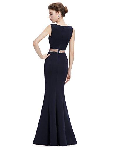 Ever Pretty Damen Rundhals Lang Fischschwanz Sexy Abendkleider 08755 Mitternacht Blau
