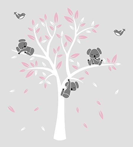 Kinderzimmer Wandtattoo,Koala-Baum-Wandabziehbild/ Modernes Baby Nursery Decor (Rosa)