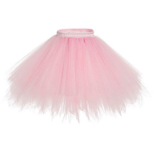 bridesmay Tutu Damenrock Tüllrock 50er Kurz Ballet Tanzkleid Unterkleid Cosplay Crinoline Petticoat für Rockabilly Kleid Light Coral ()