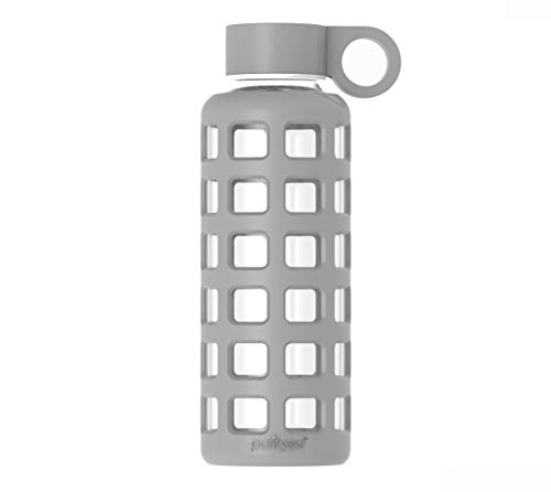 Botella de agua de cristal con funda de silicona y tapa de acero inoxi