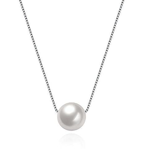 Fjyouria pour femme Perle Collier en argent sterling 925fait à la main Big de culture d'eau douce Blanc perle Pendentif chaîne