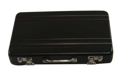Noir Personnalisé Gravé /personnalisé Porte-carte dans un mallette forme (travail boutons & catches) Dans un pochette cadeau en velours noir