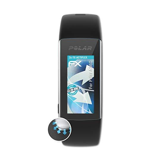 atFoliX Schutzfolie kompatibel mit Polar A360 Folie, ultraklare und Flexible FX Displayschutzfolie (3X)