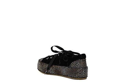 Cafè Noir Dd911 Multi Chaussures Noires Femme Sneakers Velours Plateforme Pailletée 226 Multinero