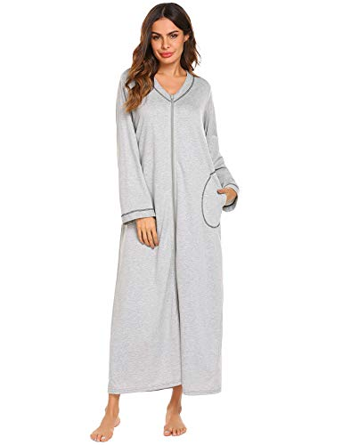 Doneto Schwangere Damen Bademantel Baumwolle lang Nachthemd Langarm mit Reißverschluss schlafmantel weich Jersey 36-38 - Mit Nachthemden Reißverschluss Für Damen