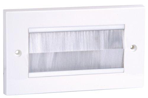 Philex 70436W Wandblende zur Kabelführung, mit weißen Bürsteneinsätzen, doppelte Breite
