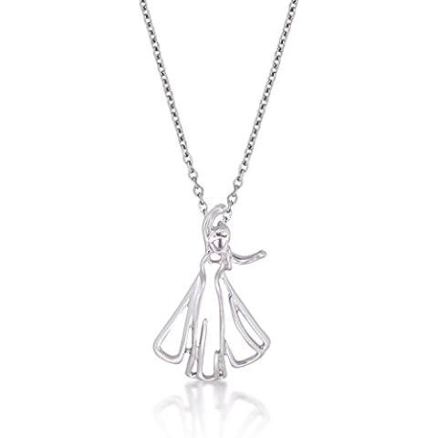 Disney Couture-Collana placcata in oro bianco, motivo: Frozen, Disney, Elsa Outline Character-Collana da