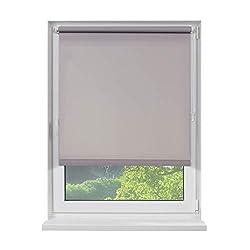 Fensterdecor Klemmfix Mini Sichtschutz-Rollo, Blickschutz-Rollo zum Klemmen, Tageslicht-Rollo ohne Bohren in Grau, lichtdurchlässig und Blickdicht, 40 x 100 cm