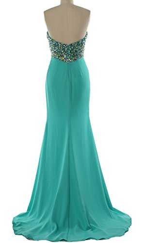 MACloth Women Strapless Long Prom Dress Crystals Formal Party Evening Gown Koralle