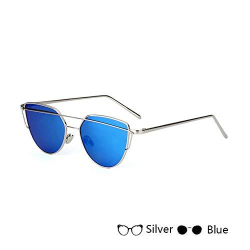 HUWAIYUNDONG Sonnenbrillen,Mode Kinder Cat Eye Sonnenbrille Mode Sonnenbrille Für Metall Brillengestell Jungen Mädchen Silber-Blau