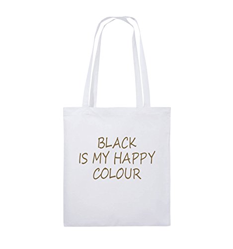 Comedy Bags - BLACK IS MY HAPPY COLOUR - Jutebeutel - lange Henkel - 38x42cm - Farbe: Schwarz / Silber Weiss / Hellbraun
