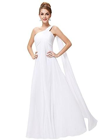 Ever Pretty Damen Lange One Shoulder Chiffon Abendkleider Festkleider 09816, weiß, Gr. 40