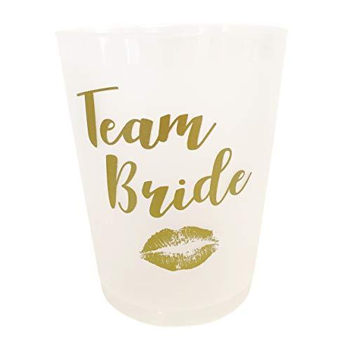 Trinkbecher für Junggesellinnenabschiede mit Aufschrift Team Bride-10Stück, weiß & goldfarben
