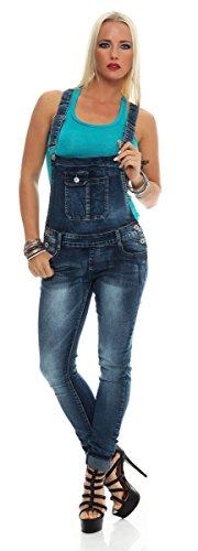 11017 Fashion4Young Damen Latzhose Jeans Röhrenjeans mit Hosenträgern Overall Latzjeans Blau