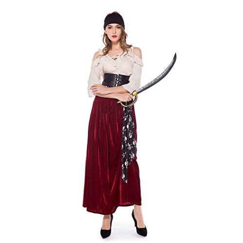 Lady Pirate Fancy Dress - Finerun Women's Pirate Dress Halloween Cosplay