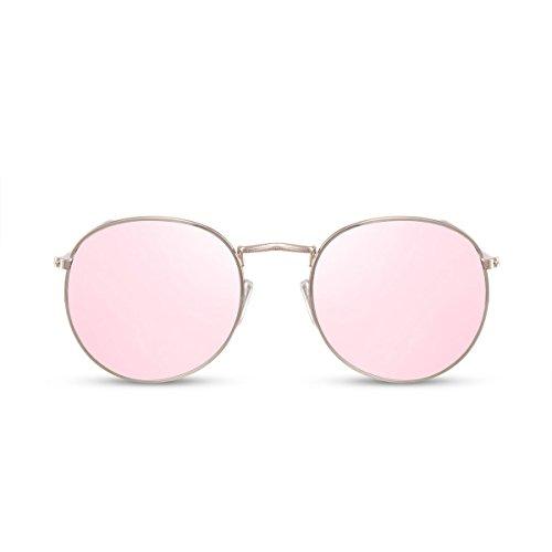 Cheapass Rund-e Sonnenbrille Verspiegelt Rosé-Gold UV-400 Designer-Brille Metall Damen Frauen Mädchen