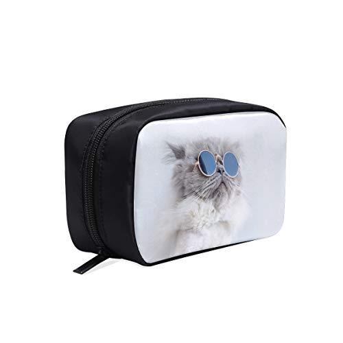 Lustige Katze posiert in Sonnenbrillen tragbare Reise Make-up Kosmetiktaschen Organizer Multifunktions Fall kleine Kulturbeutel für Frauen und Männer Bürsten Fall