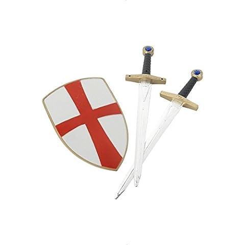 Ritter Kostüm Set Schwert Schild Kreuzritter weiß rot Set ab 3 Jahre Ritterschild Mittelalter Schild Schwert (Ritterschild Kostüm)