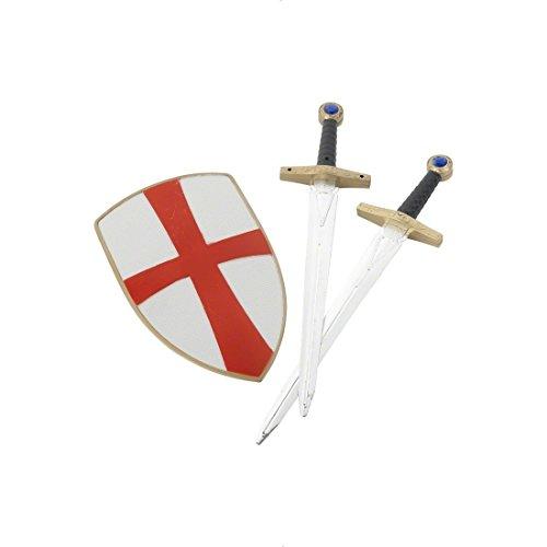 Disfraz de caballero con escudo y espada vestuario medieval guerrero traje