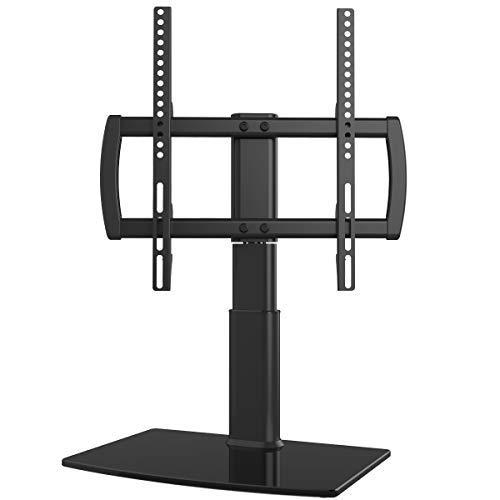 Hemudu HT04B-001 Universal-TV-Ständer, drehbar, 27 bis 55 Zoll, 80 Grad drehbar, 4-stufig höhenverstellbar, strapazierfähiger Standfuß aus gehärtetem Glas, hält bis zu 99lbs Bildschirme, HT04B-001