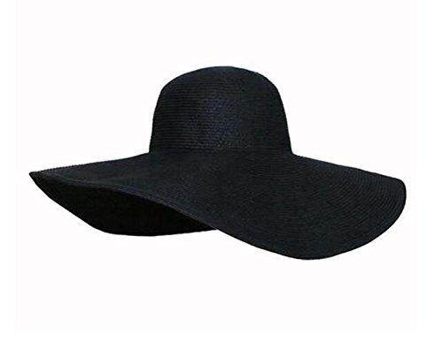 Ericotry Damen-Mütze, Schlapphut, breite Krempe, große Krempe, für Sommer und Strand, Sonnenhut, Sonnenhut Strohhut, Schwarz