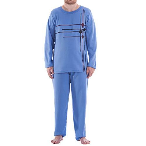 LUCKY Thermo Pyjama Herren Rundhals Schlafanzug Winter Warm, Farbe:blau, Größe:M