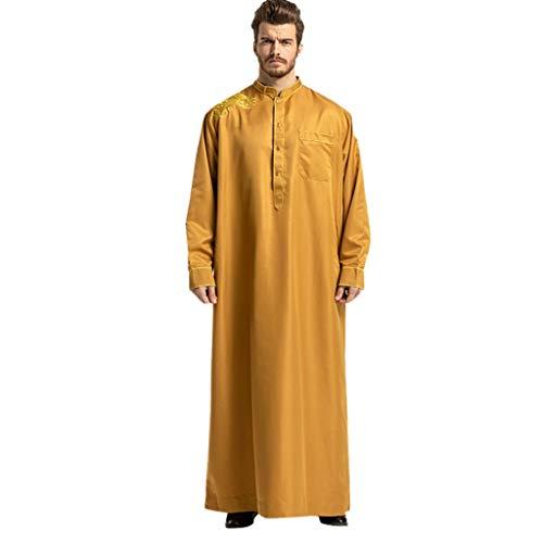 QinMM M-2019 Muslimische Herren Robe Kurzarm - Mittlerer Osten Saudi-arabischer Islamischer Tracht Langer Maxi-Rock Einfarbig Passend ()