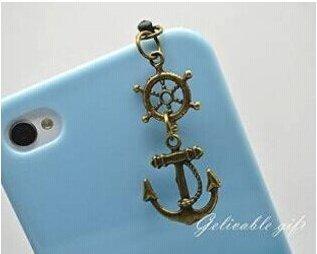 Pirat iPhone 54S 4Charme, 3,5mm Staubdicht Stecker mit Ruder und Anchor Charms, passgenau für Samsung Blackberry HTC