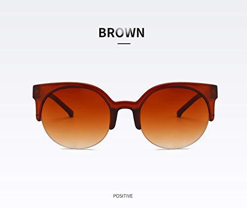 WSKPE Sonnenbrille,Mode Hälfte Frame Brille Cat Eye Sonnenbrille Frauen Vintage Runder Kreis Semi-Rimless Gläser Uv 400 Braun Rahmen Braun Linse