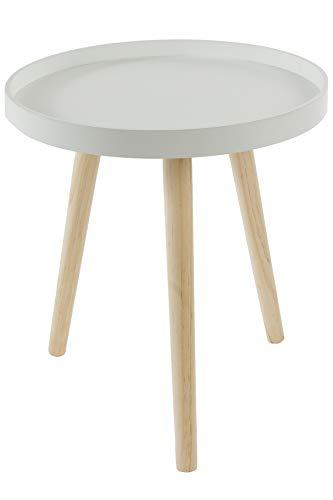 elbmöbel Table d'appoint Ronde Design scandinave avec Plateau Blanc