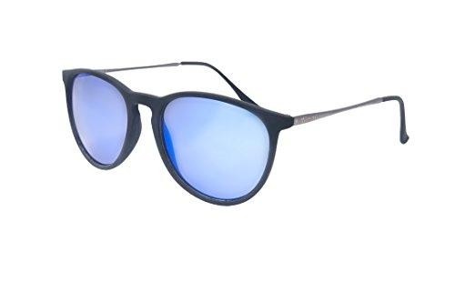 Ocean Sunglasses - Bari - lunettes de soleil en Métal - Monture : Argent/Noir - Verres : Revo Bleu (60001.1)