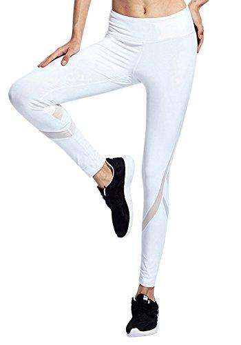 Pantalon Chandal de Malla Mujer Pantalones Deportivos Elásticos de Yoga Leggings Blanco M