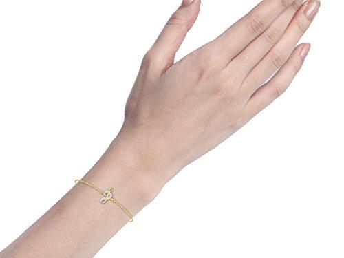 Or Jaune 9 ct Bracelet Diamant en forme de Signe de la musique, 0.02 Ct Diamant, GH-SI, 0.27 grammes.