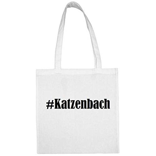 Tasche #Katzenbach Größe 38x42 Farbe Weiss Druck Schwarz