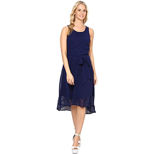 Harpa Women's Skater Dress (GR2266-Navy_Medium)  available at amazon for Rs.520