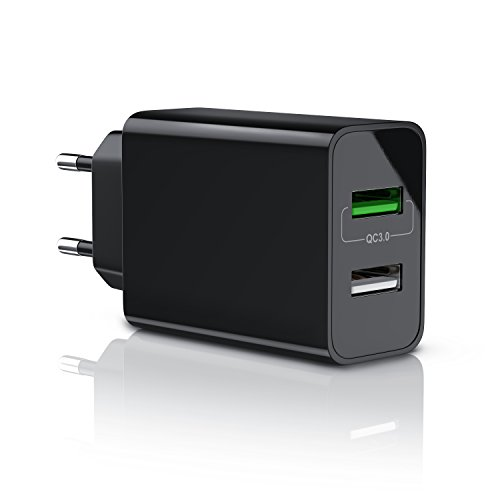 CSL - USB Ladegerät 30W QC 3.0 | 2 Port Netzteil inkl. Quick-Charging Schnellladefunktion | Smart Charge + Solid Charge intelligentes Laden | geeignet für Handy Smartphone Navi Tablets UVM. | schwarz