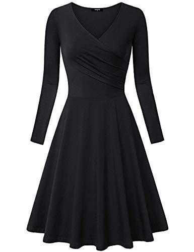 Avacoo Damen Kleider Etuikleid Langarm Elegant Kleid Baumwolle Party Kleider Schwarz Medium 38