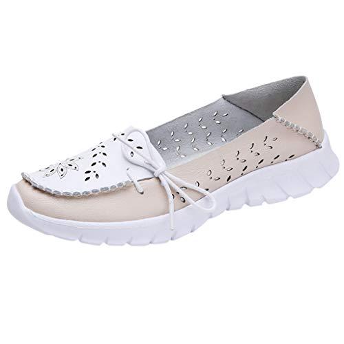 Sommer Sneaker Damen,Frauen Atmungsaktiv Sport Schuhe Flache Hohle Bogen Runde Zehen Schuh Turnschuhe im Freien Joggingschuhe