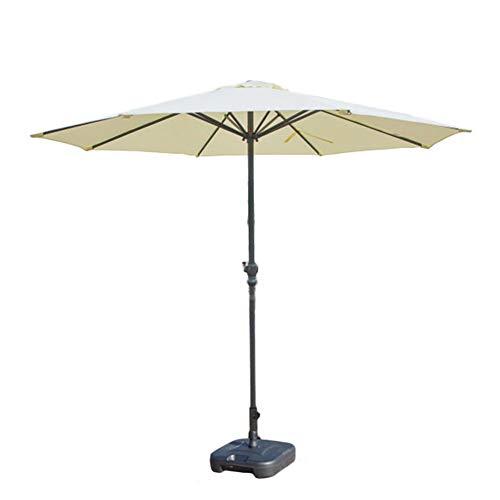 Sonnenschirme Gartenschirm Off-White/Khaki Patio Parasol Umbrella Outdoor Tischschirm, Hochwertiges Polyester Wasserdicht Anti-UV, Ø 9ft / 270cm (Farbe : Nicht-gerade Weiss) (Ft 9 Sonnenschirm)