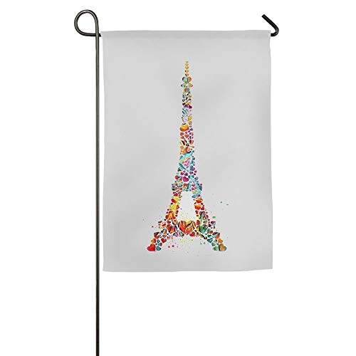 WEERQ Coloured Eiffel Tower Floral Garden Yard Banner for Outside House Flower- Best for Party Yard and Home Outdoor Decor