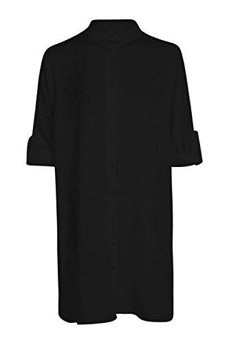 Noir Femmes Grace Chemise Longue Surdimensionnée À Manches Évasées Noir