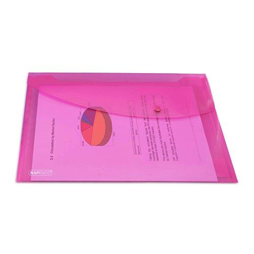 rapesco-0685-dokumententasche-mit-druckknopf-din-a4-transparent-hellrubinrot-5-stuck