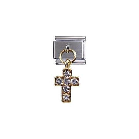 Italian Charms Modul Kreuz golden mit weißen Steinchen (Anhänger) ...by Kult-Schmuck