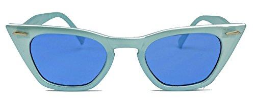 Trapezförmige Cat Eye Sonnenbrille in 50er Jahre Candy Farben Vintage Rockabilly Stil C17 (Smurf/Blau)