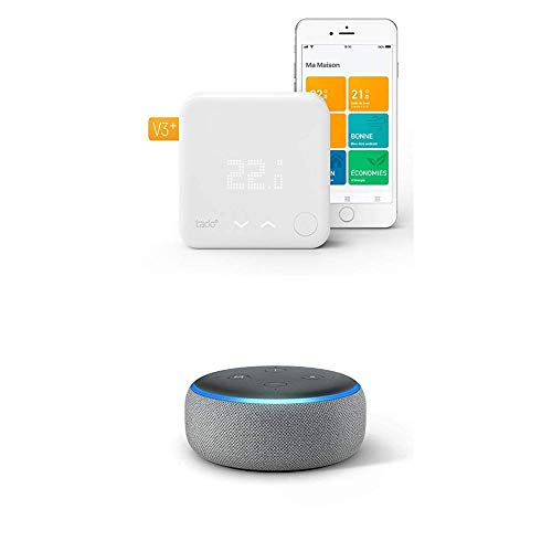 Echo Dot tessuto grigio scuro + Tado° Termostato Intelligente Kit di Base V3+ - Gestione intelligente del riscaldamento, compatibile con Amazon Alexa, Apple HomeKit, Assistente Google, IFTTT