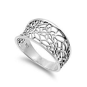 Victorian Leaf Filigree Vintage Style Ring Sterling Silver 925 (Sizes H-T 1/2)