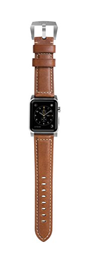 Nomad Horween Leather Strap for Apple Watch - 42mm Traditional Build - Classic Bold Look - Custom Stainless Steel Lugs and Buckle - Silver Hardware