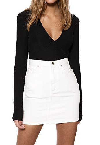 Womens Fitted Unterhemd (IVYREVEL Damen V-Neck Shoulder Pad Top, Schwarz (Black 001), 38 (Herstellergröße: M))