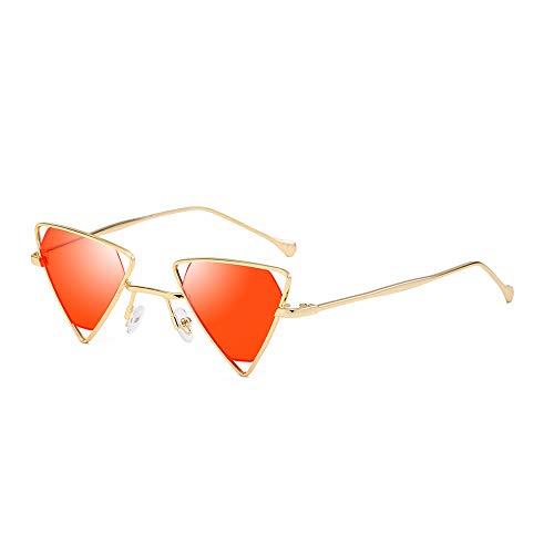Rocker Kostüm Retro - AMZTM Steampunk Sonnenbrille für Damen Herren Hohle Metall Rahmen Kleine Dreieck Brille Mode Punk Stil Vintage Retro Brillen, UV 400 Schutz (Gold Rahmen Rot Linse)