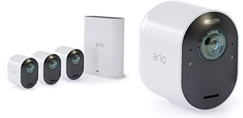 Arlo Ultra Smart Home 4 4K UHD und HDR Überwachungskameras (Farb-Nachtsicht, funktioniert mit Alexa, WLAN, kabellos, 180 Grad Blickwinkel, Spotlight, wetterfest, HD Audio) weiß, VMS5440 -